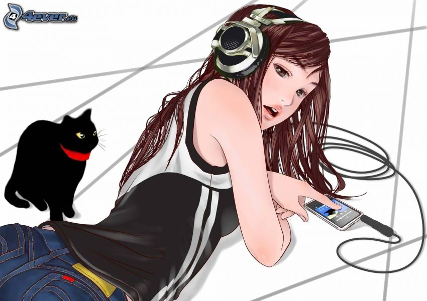 chica anime, chica con auriculares, gato negro