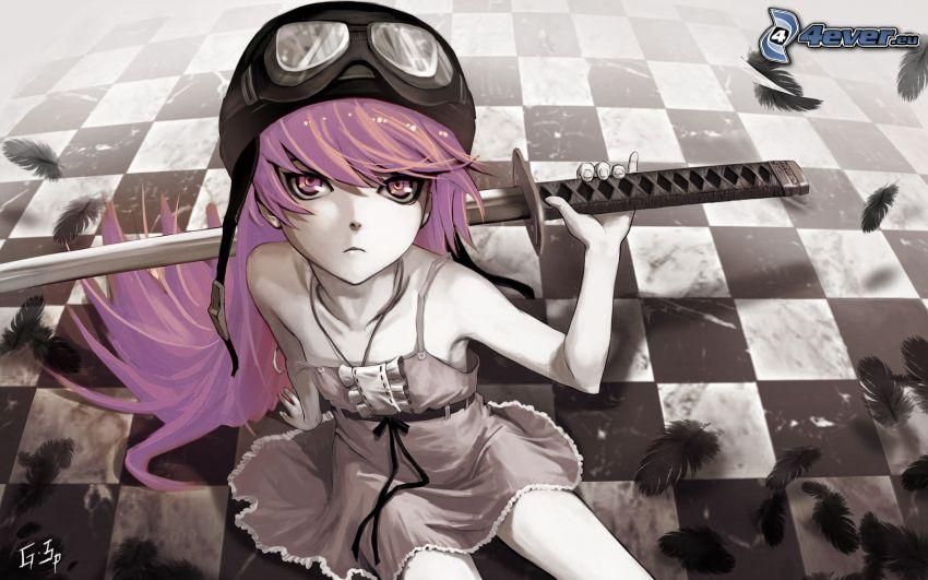 chica anime, en el piso, espada, katana