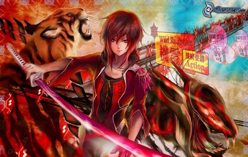 chica anime, espada, tigre