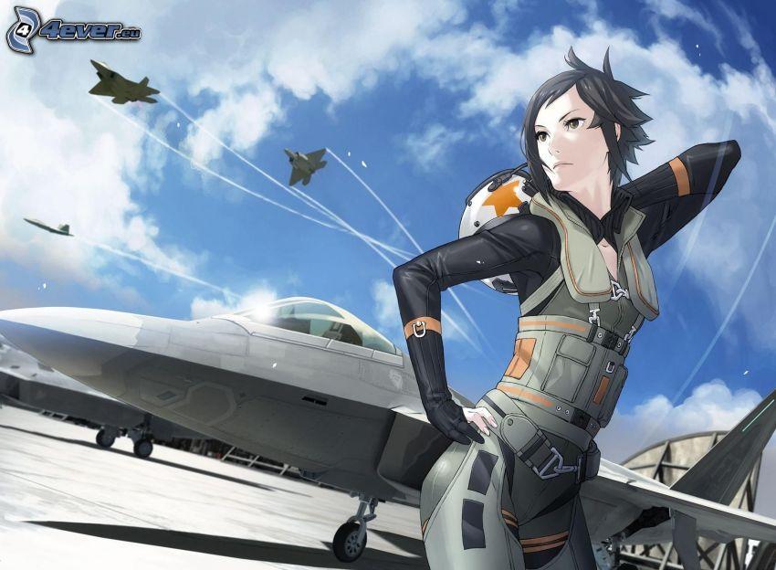 chica anime, F-22 Raptor, aviones de caza
