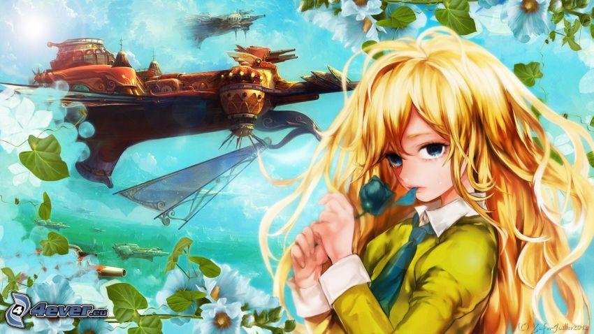 chica anime, flores