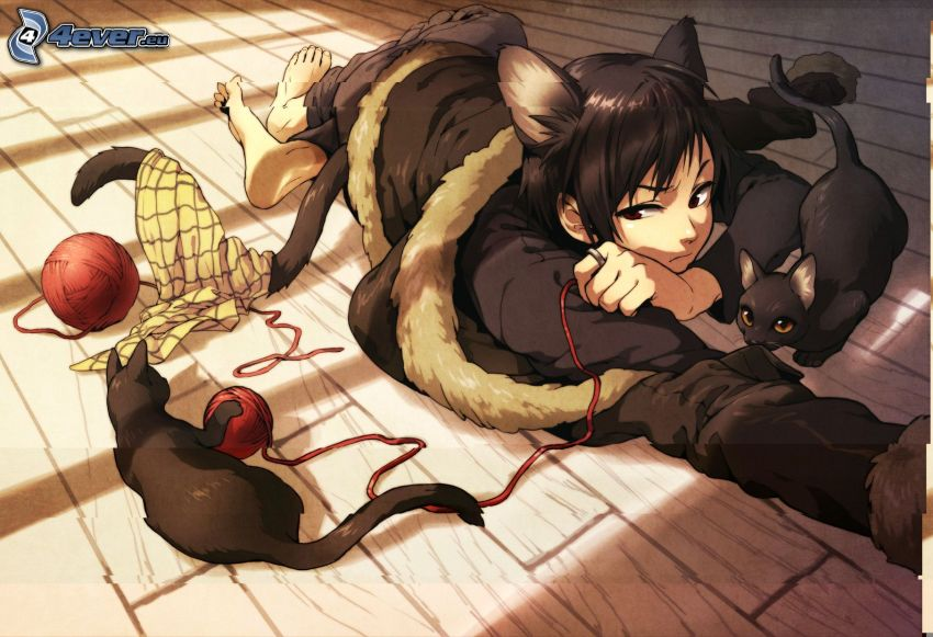 chica anime, gatos negros, enredos
