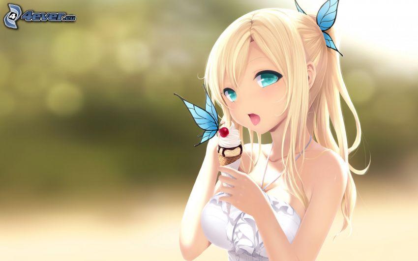 chica anime, helado, mariposa azul