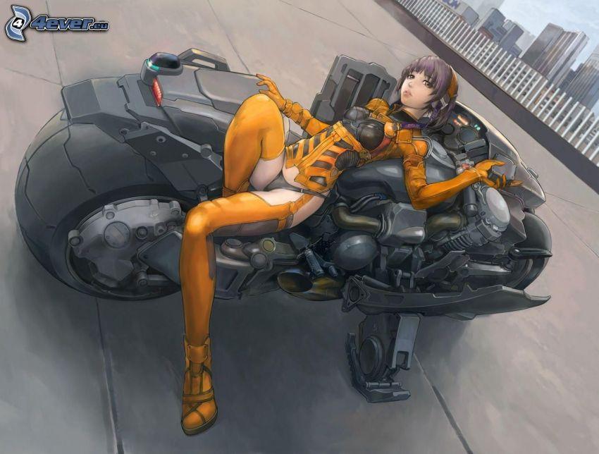 chica anime, motocicleta