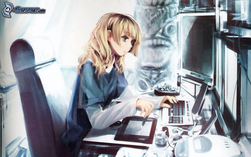 chica anime, ordenador