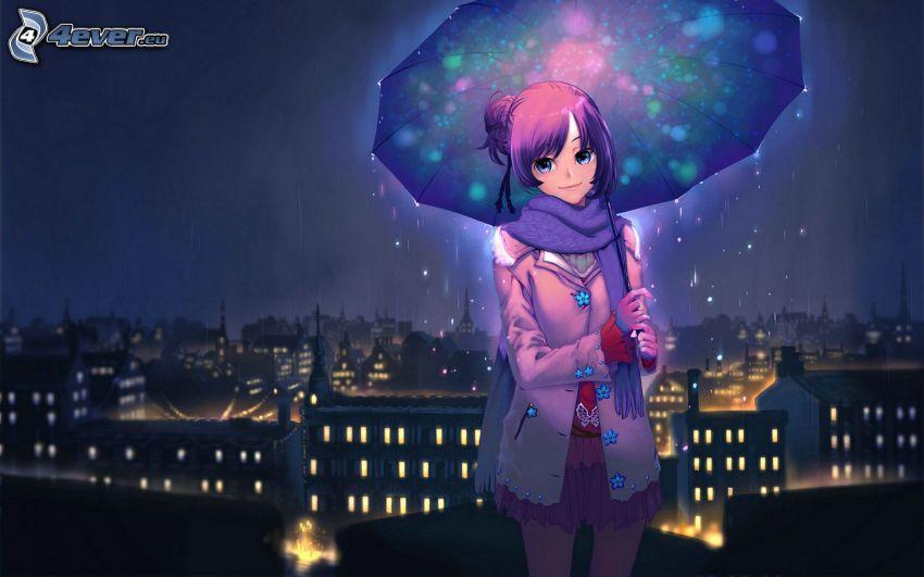 chica anime, paraguas, ciudad de noche