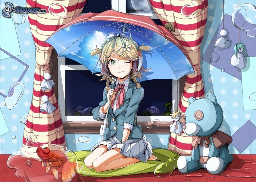 chica anime, paraguas, oso de peluche