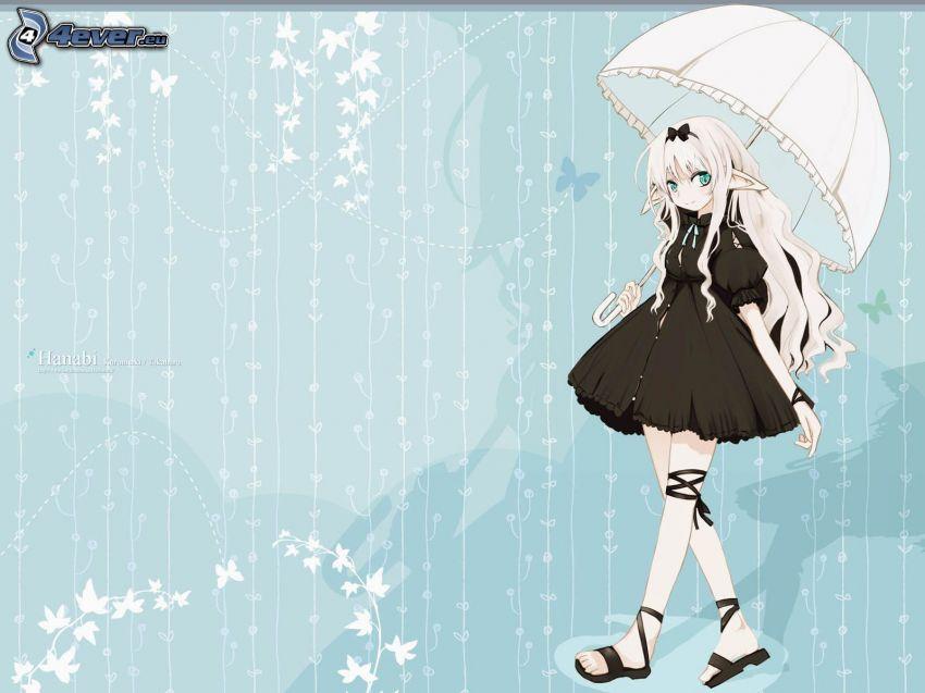 chica anime, paraguas