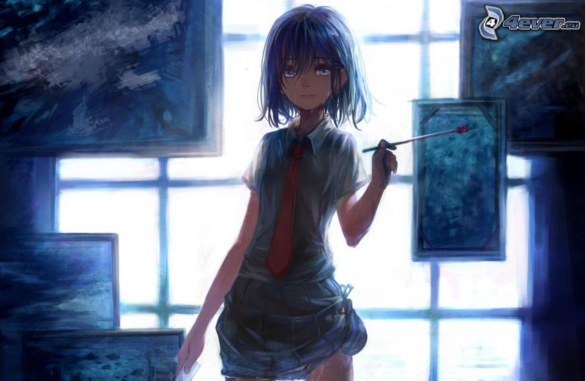 chica anime, pincel