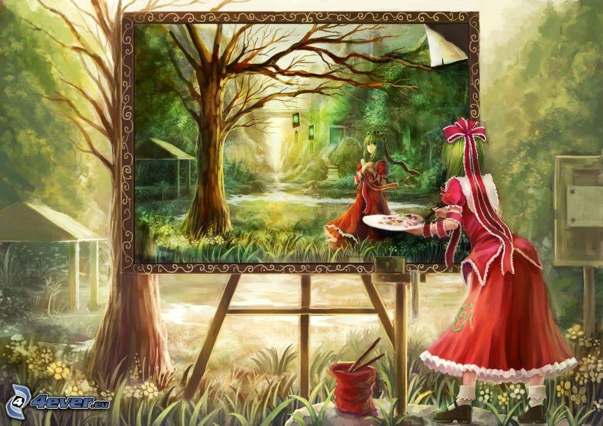 chica anime, pintura