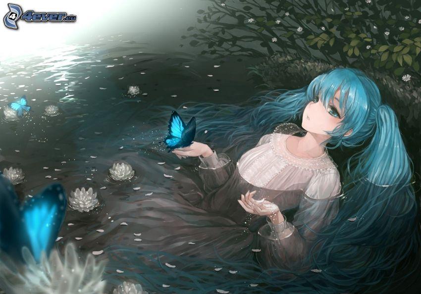 chica anime, río, mujer en agua, Mariposas