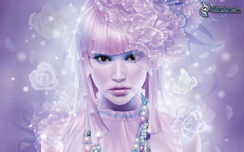 chica anime, rosas blancas
