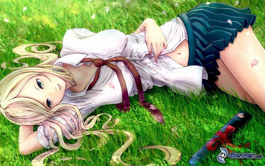 chica anime, rubia, hierba, minifalda