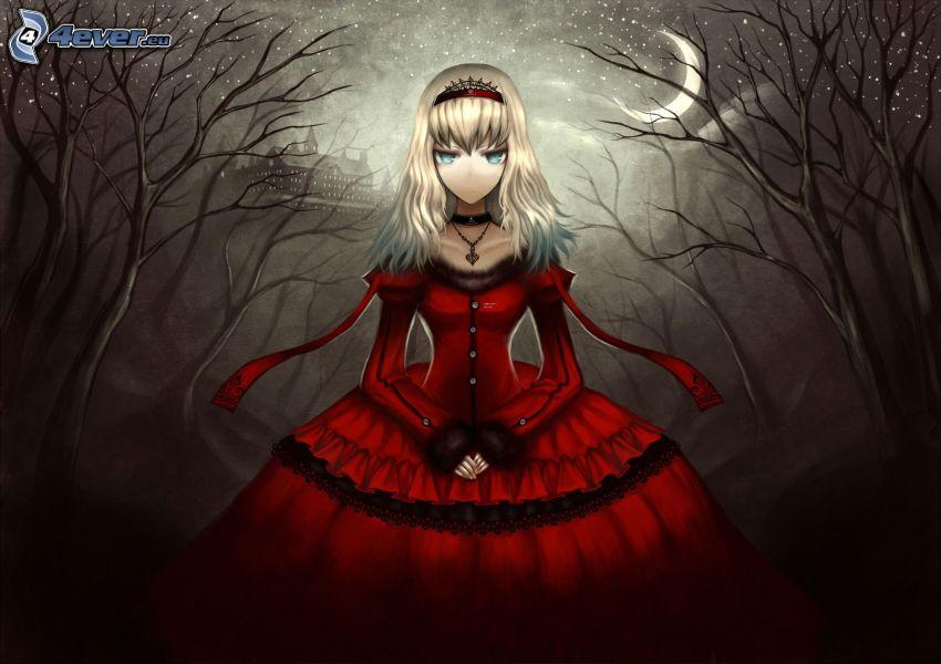 chica anime, vestido rojo, noche