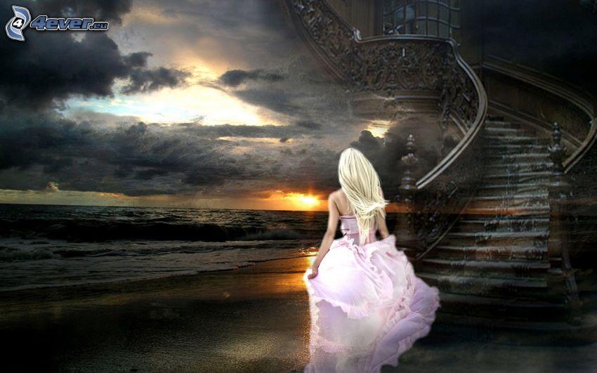 chica en la playa, vestido de color rosa, puesta de sol en el mar, escalera al cielo, nubes oscuras