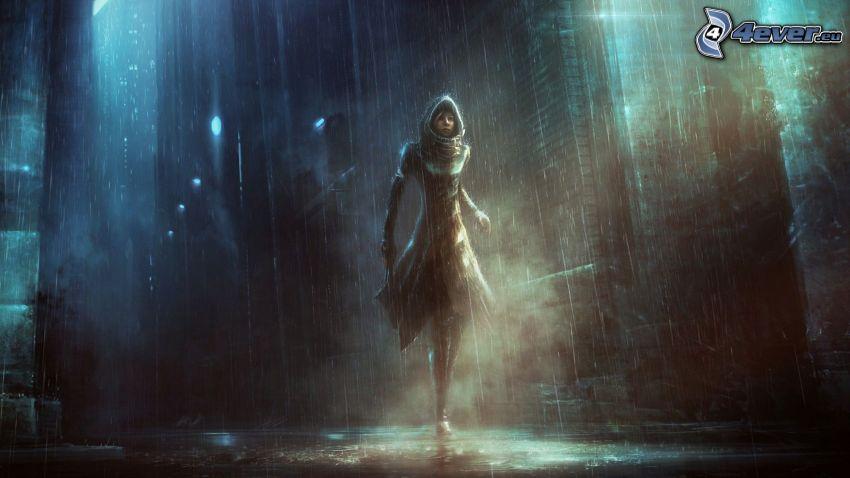 chica fantástica, ciudad, lluvia