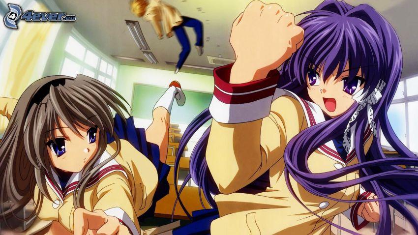 chicas anime, batalla, clase