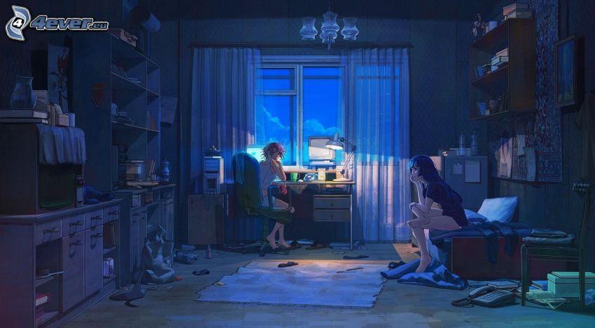 chicas anime, habitación