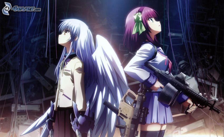 chicas anime, metralleta