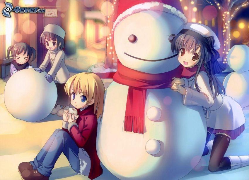 chicas anime, muñeco de nieve