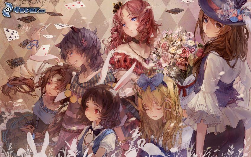 chicas anime, tarjetas
