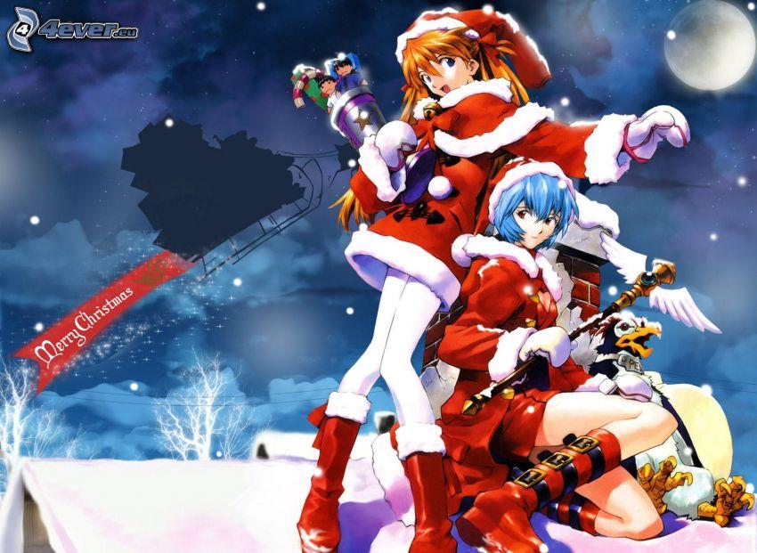 chicas anime, traje de Santa Claus, Merry Christmas
