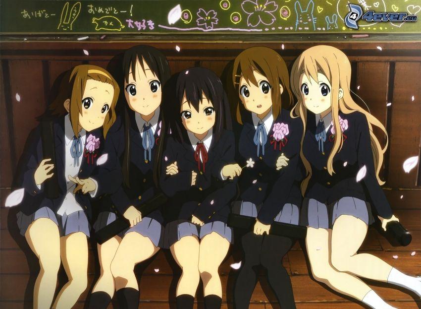 chicas anime, uniforme, alumna