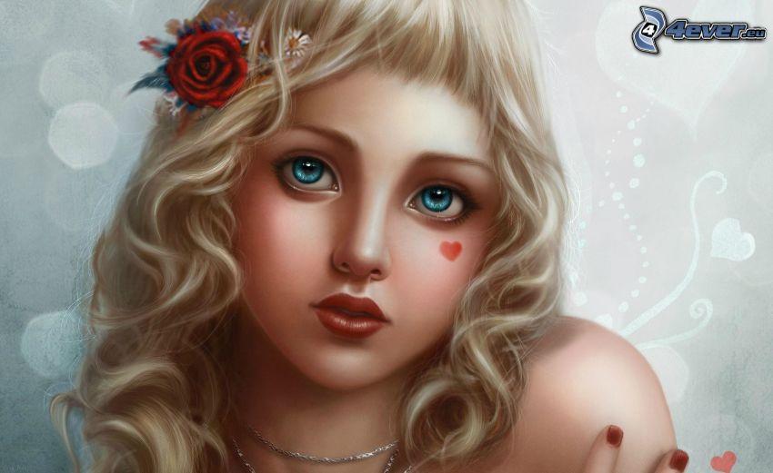 dibujos animados de chica, rubia