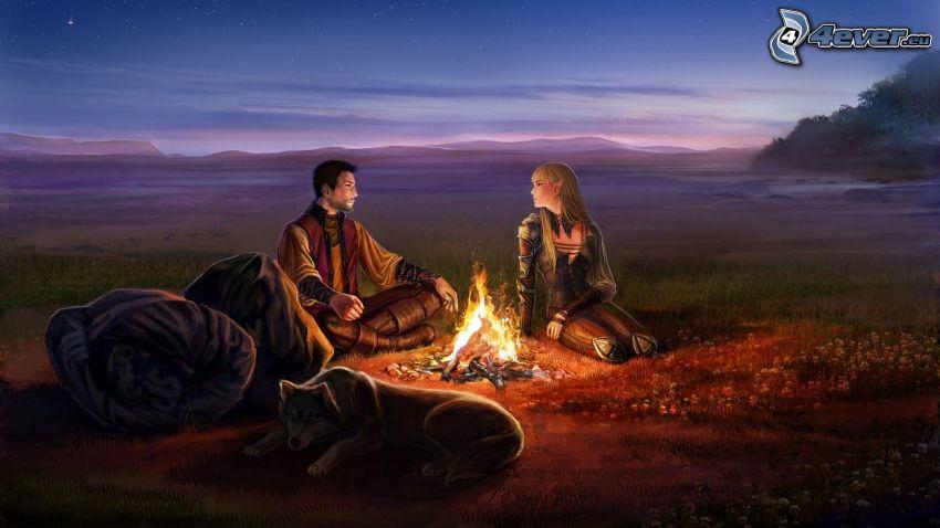 dibujos animados de mujer elfo, hombre animados, fuego, perro pintado a mano