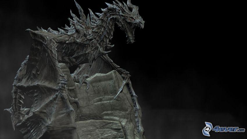 dragón, estatua