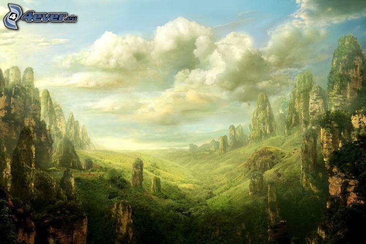 el país de fantasía, montaña rocosa