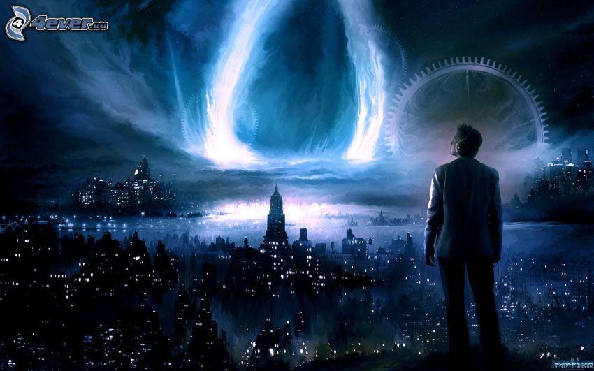 fantasía, hombre, ciudad, luz intensa, rueda adentallada