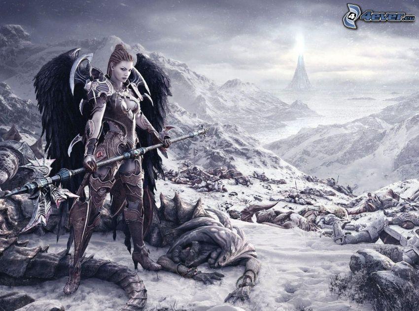 guerrera fantástica, mujer con alas, después de la pelea