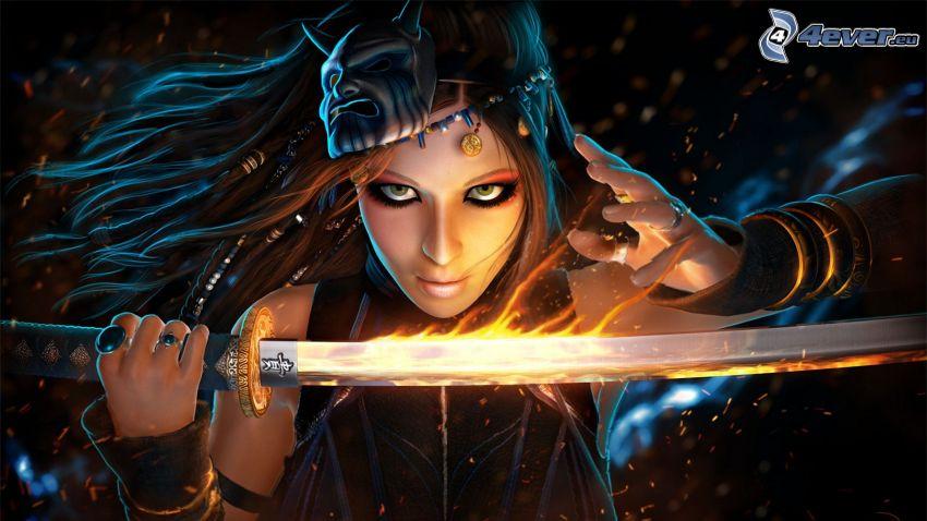 guerrera fantástica, mujer con una espada