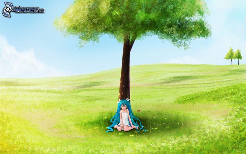 Hatsune Miku, chica anime, árbol, prado de verano
