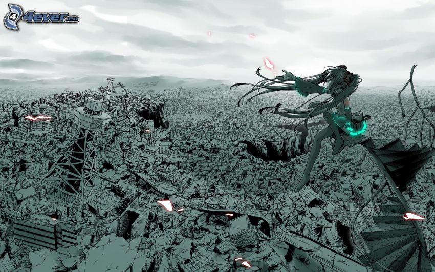 Hatsune Miku, chica por encima de la ciudad
