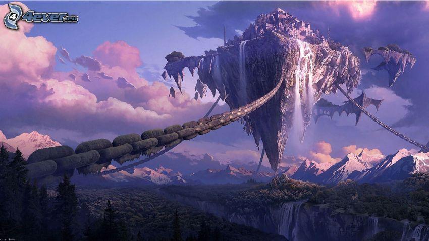 isla voladora, cadena, nubes, montañas nevadas