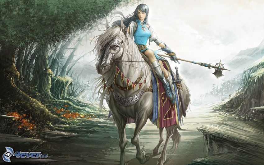 luchadora anime, caballo blanco