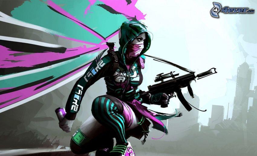luchadora anime, chica con una pistola