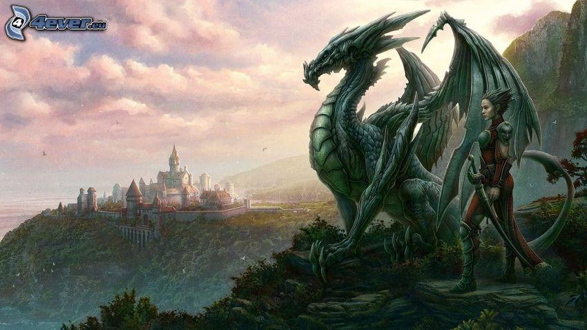 luchadora anime, dragón, castillo