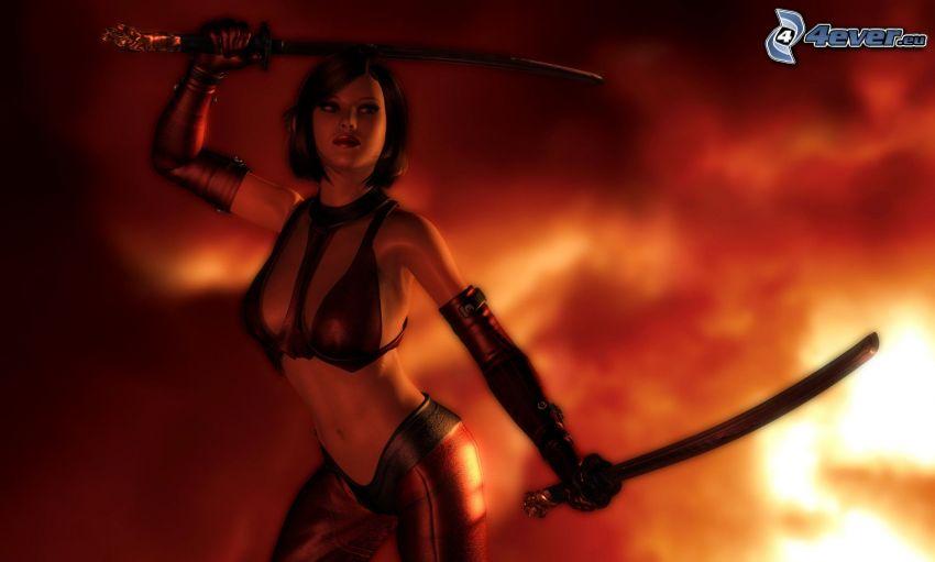 luchadora anime, katana, infierno