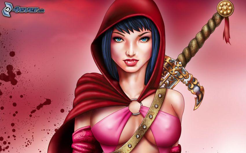luchadora anime, mujer con una espada, mancha de sangre