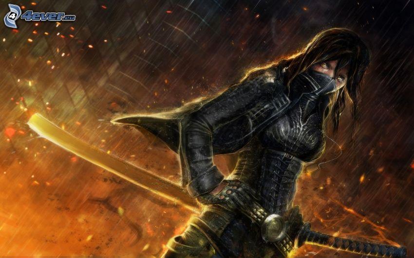 luchadora anime, mujer con una espada