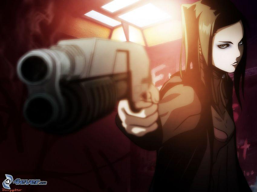 luchadora anime, pistola