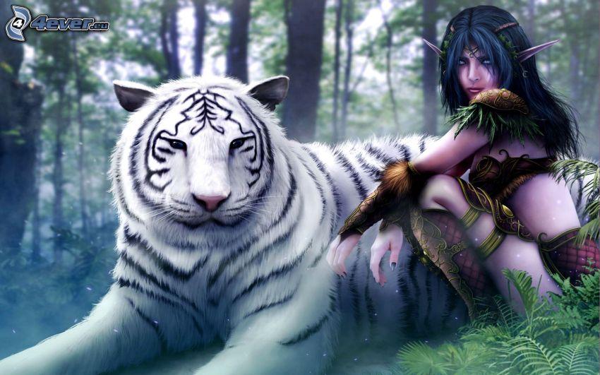 Mirana Dota, World of Warcraft, mujer elfo, tigre blanco, bosque