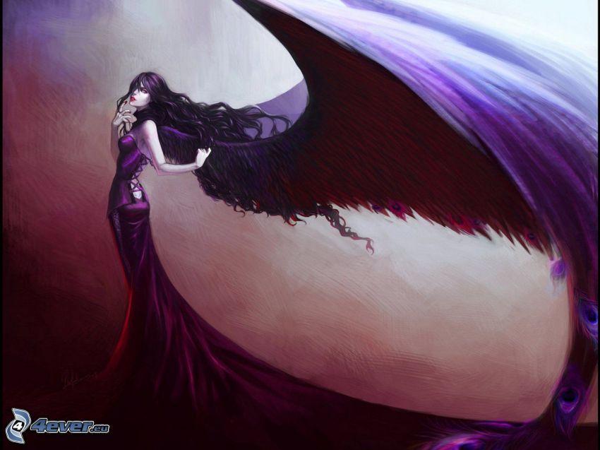 mujer con alas, gótica