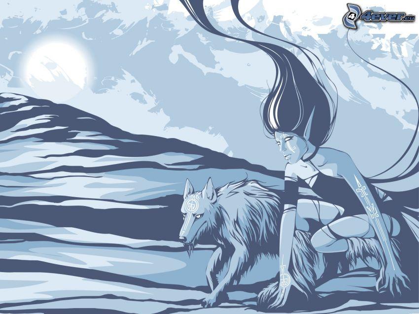 mujer elfo, lobo, mes, montañas