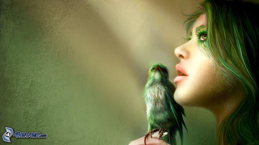 mujer elfo, pájaro, chica fantástica