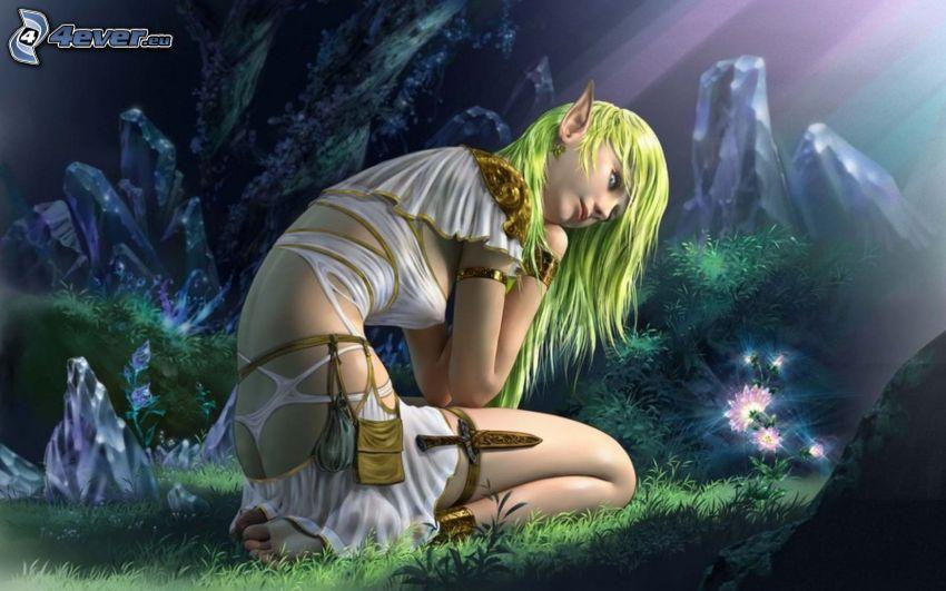 mujer elfo, vestido blanco, paisaje de dibujos animados