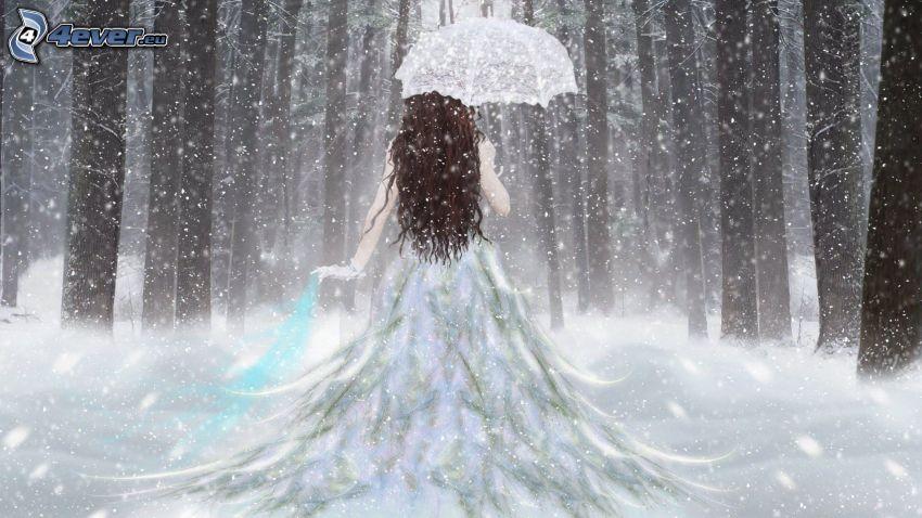 mujer en el bosque, bosque nevado, vestido blanco, paraguas